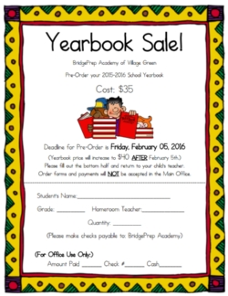 Yearbook PreSales News And Announcements Bridge Prep - Yearbook flyer template